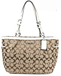 Coach 12CM Signature Gallery East West Tote Bag 17726 Khaki White