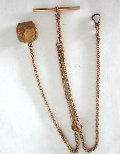 #71800001 Ladies Gold Antique Pocket Watch Slide Chain w/ Locket