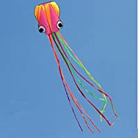 AOBOR Kite-Beautiful Large Easy Flyer Kite For Kids - Nylon Cloth 4m Power Yellow&Pink Head And Colorful Tail...