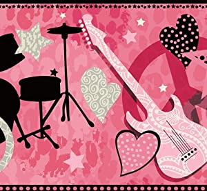 Pink rock star guitar wallpaper border gir94003b - Guitar border wallpaper ...