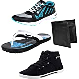 Earton Men Combo Pack Of 4 Sport Shoes With Casual Shoe & Wallet, Slipper - B01NALFU05