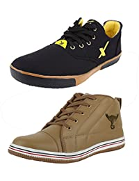 Freedom Daisy Men Stylish Combo Of Lace-Up Style Casual Shoes (Set Of 2 Pair)