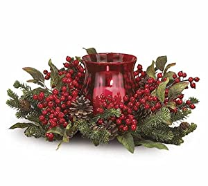 burton + Burton Christmas Holiday Red Berry Floral Candleholder at Sears.com