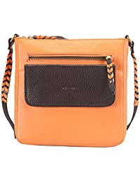 Adamis Genuine Leather Ladies Handbag (ORANGE/BROWN_B666)