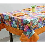 AURAVE Multicolor Floral Cotton Table Cover With Napkins (8 Seater)