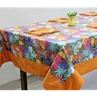 AURAVE Multicolor Floral Cotton Table Cover With Napkins (4 Seater)