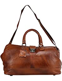 Bharat Leather Emporium - Unisex Travel Duffle Weekender 100% Pure Genuine Leather Bag (Brown)