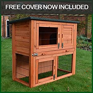 Rabbit hutch guinea pig house cage pen with built in run for Free guinea pig hutch