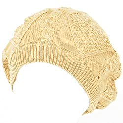 New Spring Cotton Cable Knit Slouchy Beret Tam Hat Beige