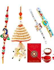 Ethnic Rakhi Designer Floral Pattern Multi-Color Fashionable And Stylish Mauli Thread And Beads Rakhi Set Of 4... - B01IIMF4RK