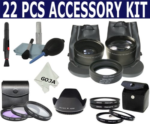 Professional Kit for NIKON D40 D60 D80 D3000 D3100 D5000 D5100 D7000, Includes: 2.0 X High Definition Telephoto Lens + 0.45x Wide Angle Lens + Adapter Ring Kit + Filter Kit (UV, Polarizing, Fluorescent) + Close Up Kit (+1 +2 +4 +10) + Cleaning Kit + Cleaning Pen + Microfiber Cleaning Cloth