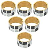 Artisana Brass 6 Piece Napkin Ring Set - Black & White