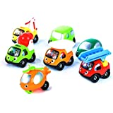 7 Mini Smiley Vehicles - Gift Set For Toddlers With Little Cars, Trucks And Helicopter [Happy Fleet By TransporToys]