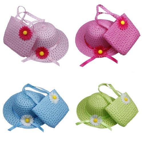 C-Princess子供用麦わら帽子と麦わらバッグ2点セット キッズ つば広 麦わらハット 紫外線防止対策日よけ帽子 草編みバッグ きれいな花の飾りデザイン 4色入りセット