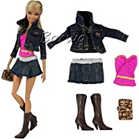 Fashion Evening Party Clothes Wears Jean Outfit For Barbie Doll Gift Xmas Gift