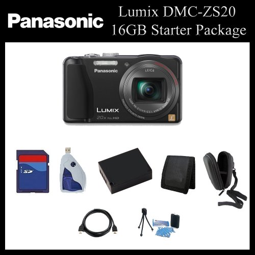 Panasonic Lumix DMC-ZS20 Digital Camera (Black) - DMC-ZS20K - 16GB Point & Shoot Package