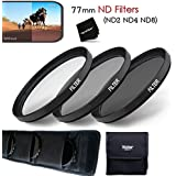 77MM Professional 3 Piece Neutral Density FILTER SET - ND2 ND4 ND8 + Protective Wallet Case + Ultra Fine HeroFiber...