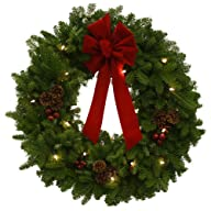 Worcester Wreath 30-Inch Classic Pre-Lit Maine Balsam Wreath