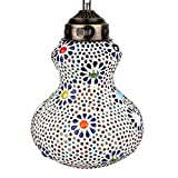 "EarthenMetal Handcrafted ""Surahi"" Shaped Mosaic Design Multi-coloured Glass Hanging Light"