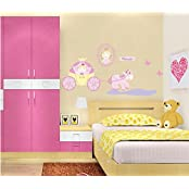 SYGA Princess Horse Carriage Wall Stickers Kids Room Decor Decals Design
