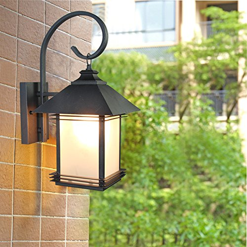 LNC Industrial Edison Vintage Style Loft One-Light Exterior Wall Lantern Outdoor Light Fixture,Black Finish with Glass 5