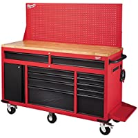 Milwaukee 60 in. 11-Drawer and 1-Door 22 in. D Mobile Workbench (Red)
