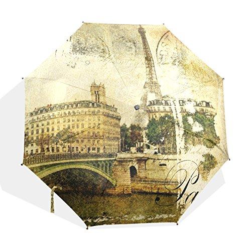 JSTEL Compact Ultra-light and Portable Travel Foldable Rain Umbrella Paris Vintage Pattern 0