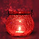 Decorative Stunning Red Crackled Glass Lantern Tealight Holder With One Tealight Free - By MARIGOLD STORES