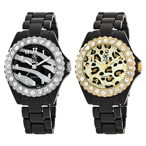 "Golden Classic Women's 14639_zebra.leopard.set ""Love Potion"" Rhinestone Metal Set Watch"