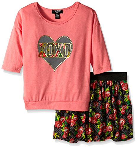 XOXO Big Girls' 2 Piece Set Hacci Top Challis Scooter, Conch Shell, Small/7/8