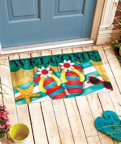 Colorful Flip Flops Starfish Beach Theme Wel e Door Mat