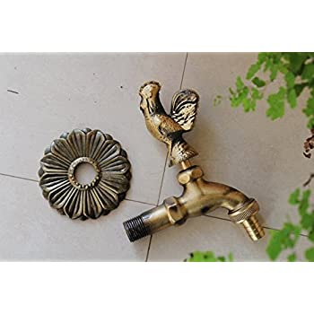"Aquafaucet Rooster Decorative Antique Brass Garden Outdoor Faucet - With a Set of Brass Quick Connecter for 1/2"" Inches Hose"
