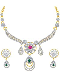 Sukkhi Youthful Ruby And Emerald Studded Gold And Rhodium Plated CZ Necklace Set For Women