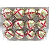 Queens Of Christmas WL-ORN-12PK-PLD-RG 12 Pack Ball Ornament With Red And Gold Plaid Design, Silver