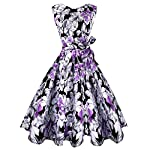 Urmine Women's Floral Print 1950's Vintage V-back Sleeveless Cocktail Dress