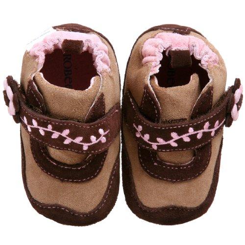 Robeez Mini Shoez Kids' Posey Flower Bootie,Hound Dawg/Brown,3-6 Months (2 M US Infant)