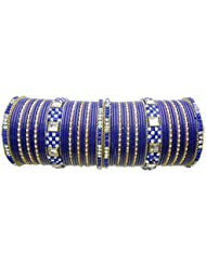 Bridal Chura Blue Lac Wedding Bangles Chuda By My Design(size-2.8)