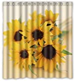 "Happy Shopping Go Custom Nice Sunflowers Waterproof Bathroom Fabric Shower Curtain 66"" x 72"""
