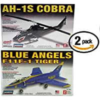 Set Of 2 Lindberg 1/48 Model Kits Ah 1 S Cobra Helicopter Blue Angels F11 F 1 Tiger