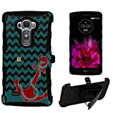 Spots8® Image Design Cases for LG G Flex 2 , Dual Layer Holster Case Plus Kickstand with Locking Belt Swivel Clip [Red Anchor on Chevron]