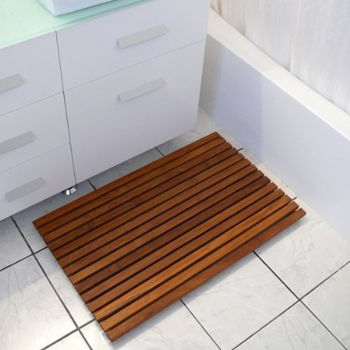Le spa Premium Teak Floor or Shower Mat, Rectangular 19.75