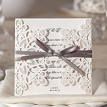 WISHMADE 50 Count Luxury Elegant Laser Cut Invitations Cards Kits White Printable for Wedding Birthday Baby Shower Bridal Shower with Ribbon and Envelopes