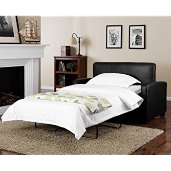 """Alexs New Sofa Sleeper Black Convertible Couch loveseat Chair Leather Bed Mattress (54"""", Black)"""