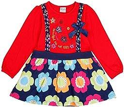 Lovely girls pattern Floral print skirt one-piece cotton dressRED