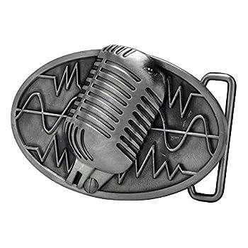 Buckle Rage Adult Unisex Retro Vintage Microphone Sound Wave Belt Buckle