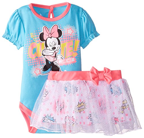 Disney Baby Girls Minnie Creeper Skirt Set, Blue, 3-6 Months