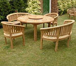 Large Teak Garden Furniture Set Outdoor Wooden Table Banana Chairs Banch Hardwood Patio