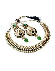 Glittering World Designer Green Alloy Choker Necklace And Earrings For Women