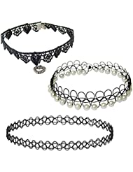 Black Lace And White Pearl Choker Combo For Girls – Black Heart Charm Choker Neck Lace + White Pearl Black Lace...