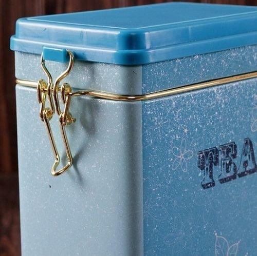 Decorations Jar with Lid Retro Large Sky Blue Tea Kitchen Coffee Tea Sealed Container Jar Tin Metal Decoration Home Decor 21.5cm X 12cm X 7.6cm 5